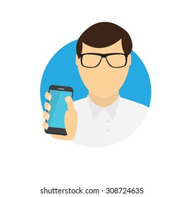 A Man Holding a Mobile Phone. Communication Concept. Vector Illustration. EPS10