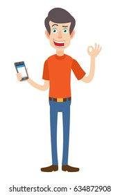 Man holding mobile phone and showing a okay hand sign. Full length portrait of Cartoon Man in red t-shirt. Vector illustration in a flat style.