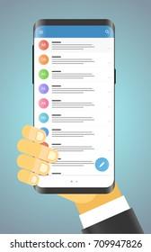Man holding modern smartphone. Modern smartphone messenger app