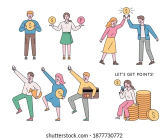 A man is holding a money icon. A woman put a money icon on her farm. The two are making a high five. He is in a lively pose with a money symbol in his hand. flat design style minimal illustration.