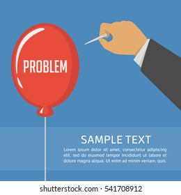 Man holding needle and bursts red balloon with the text problem. Easiest way to get rid of the problems concept. Vector illustration in flat style.