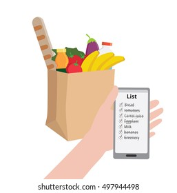 Man is holding a phone with a shopping list. Supermarket eco Kraft paper shopping bag full of healthy organic fresh and natural food. Grocery delivery concept. Flat vector illustration