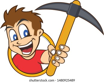 man holding pickaxe bitcoin mining crypto currency