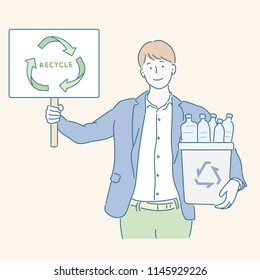 A man holding a picket with a recycling mark and a recycling bin in his other hand. hand drawn style vector design illustrations.