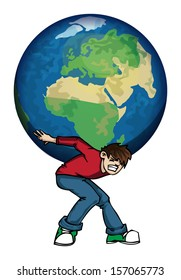 Man holding Planet earth on his shoulders vector illustration