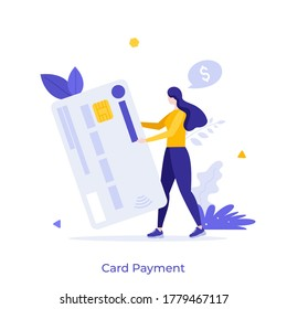 Man holding plastic debit or credit card. Concept of service for secure electronic or wireless payment, digital transaction, money transfer. Modern flat colorful vector illustration for banner.
