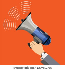 The man is holding a portable loudspeaker, a megaphone from which sounds are heard. Vector illustration