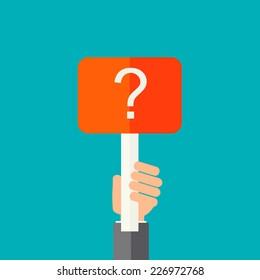 Man holding question mark.  Help sign icon . FAQ symbol. vector