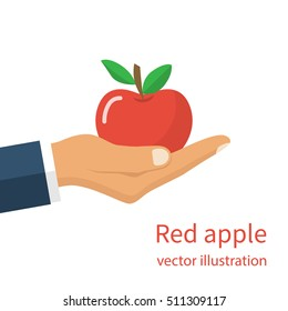 Man holding a red apple in hand. Healthy and wholesome fruit concept. Fresh food. Organic vitamin nutrition. Vector illustration flat design. Isolated on white background.