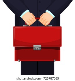 Man holding red budget briefcase on vector illustration
