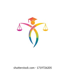 Man Holding Scales of Justice Logo. Law and Attorney Logo Design.