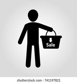 Man holding shopping basket isolated flat vector icon