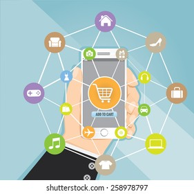Man holding smartphone with basket on line shop, e-commerce concept vector