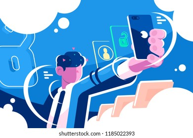 Man holding smartphone getting access device. Face identification mobile phone front camera shoot. Digital security technologies concept horizontal flat. Vector illustration