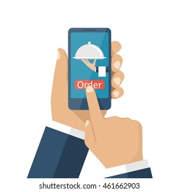 Man holding smartphone, order food online. Vector illustration, flat design. Concept of online shopping. Application for food orders, tray in hand delivery.