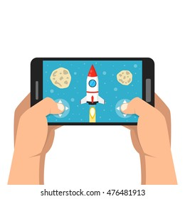 Man holding smartphone and playing in game. Mobile gaming concept. Flat vector illustration.