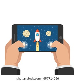 Man holding smartphone and playing in rocket game. Mobile gaming concept. Flat cartoon style. Vector illustration.