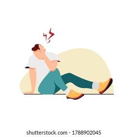 A man holding a sore head. Head trauma during sports. Ear pain, dizziness, stroke, migraine.