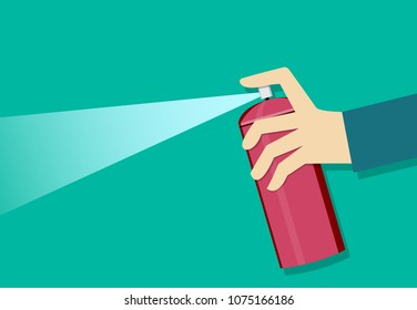 A man holding a spray can and use it, vector art