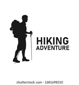 Man holding stick go hiking silhouette. Trekking adventure. Holiday outdoor activity. Camping equipment. Backpacker style. Backpacking in nature concept - Vector icon sign or symbol illustration.