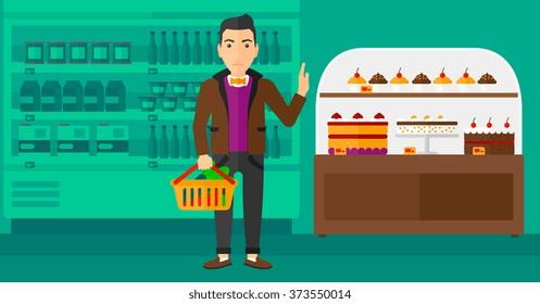 Man holding supermarket basket.