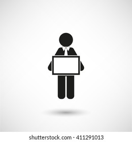 man holding tablet - black vector icon  with shadow