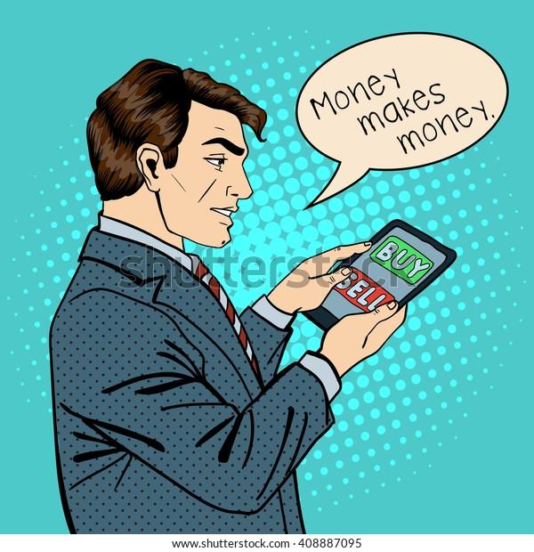 Man Holding Tablet. Businessman at Work. Pop Art. Modern Technology. Vector illustration