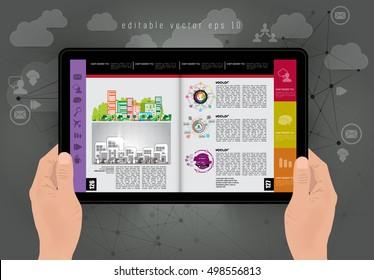 Man holding tablet, vector