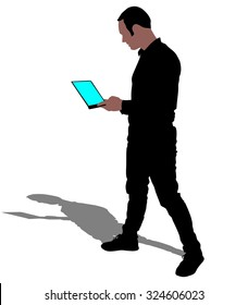 Man holding touchscreen digital tablet, vector