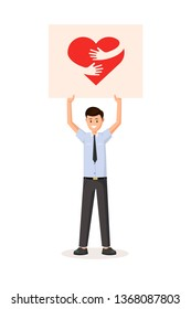 Man holding transporant with heart. Flat style vector illustration. Colorful red hug sign logo on poster