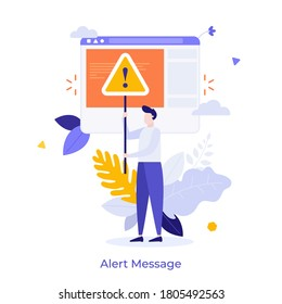 Man holding triangular warning sign with exclamation mark. Concept of fatal error, operating system failure, program crash, critical alert message. Modern flat colorful vector illustration for banner.