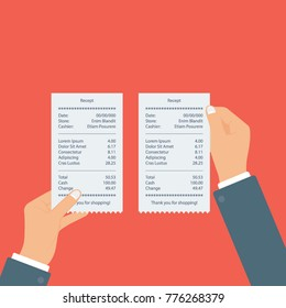 A man holding two receipts in his both hands vector illustration