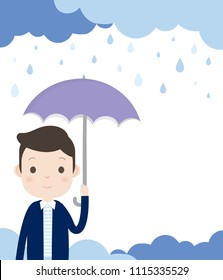 Man is holding an umbrella and standing in the rain. With Cloudy and Rainy Background.