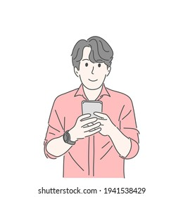 Man holding and using smartphone. Hand drawn character vector style.