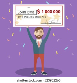 Man holding winning check for one million dollars. Lottery and rich, lucky smile, cheque and money. Vector illustration.