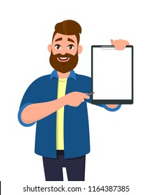 Man holding/showing a blank clipboard. Vector illustration in cartoon style.