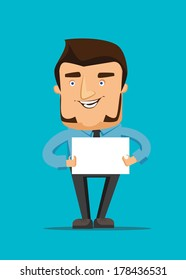 Man holds a blank white peace of paper vector illustration icon