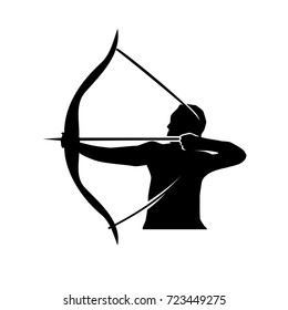 man holds bow and arrow silhouette, strong man with bow and arrow silhouette, illustration design, isolated on white background.