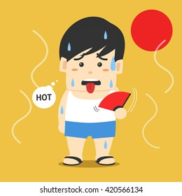 Man holds a fan on a hot day, character flat design vector illustration.
