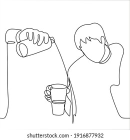 man holds a glass into which another man pours a drink from a bottle, but it does not fall. a man pours water past a glass to another man.Concept of being out of topic, irrelevant, social awkwardness,