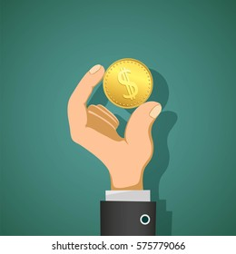 Man holds in his hand a gold coin dollar. Stock vector illustration.
