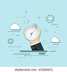 Man holds in his hand a sports stopwatch. Deadline and urgency in work. Stock Vector cartoon illustration.