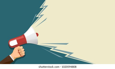 Man holds a loudspeaker in hand. Marketing and advertising. Democracy and elections. Stock vector illustration in flat graphics style.