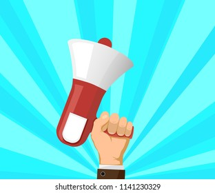 Man holds a megaphone in hand. Marketing and advertising. Democracy and elections. Stock vector illustration flat graphics style.