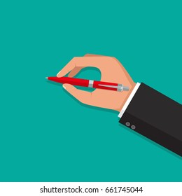 Man holds a pen and writes. Pen in hand.  Vector isolated illustration, flat design.