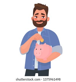 Man holds a piggy bank. Concept of saving finances. Vector illustration in cartoon style