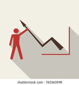 Man holds schedule chart on table vector. Economic visualization information, business report graph illustration