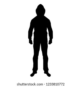 Man in the hood concept danger silhouette front side icon black color