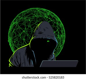 Man in the hood, internet hacker with laptop and green web on background.