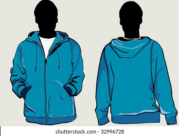Man in hooded sweatshirt with zipper in front and back